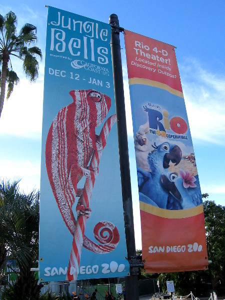 A funny Jungle Bells banner near the entrance to the world famous San Diego Zoo in Balboa Park.