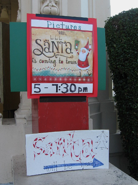 Another Santa will be seated at the organ pavilion, welcoming many kids.