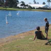 Fun sailing on Mission Bay's model boat pond.