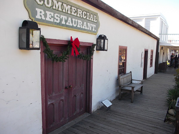 Photo shows the Commercial Restaurant museum, which is free and open to the public in Old Town San Diego State Historic Park.