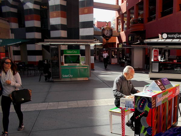 Gentleman who saw this fun piano in the middle of Horton Plaza sat down and started playing. The San Diego Symphony is spreading music around the city!