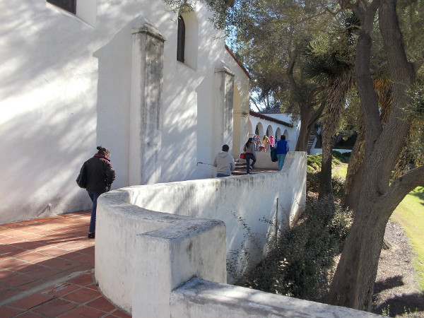 People arrive at the Serra Museum, where San Diego's early Spanish history comes alive.