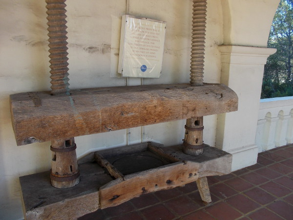 Large wine press in front of the museum was a gift from the Spanish island of Mallorca, Father Junipero Serra's birthplace.