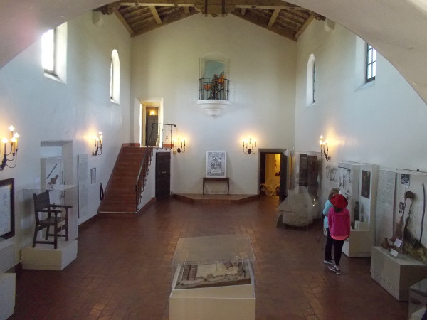Elegant interior of the Serra Museum contains many exhibits pertaining to San Diego's early Spanish history.