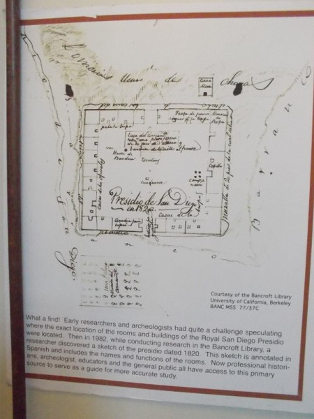 Researchers discovered this sketch of the Royal San Diego Presidio dated 1820. It shows the layout of the old buildings which no longer exist.