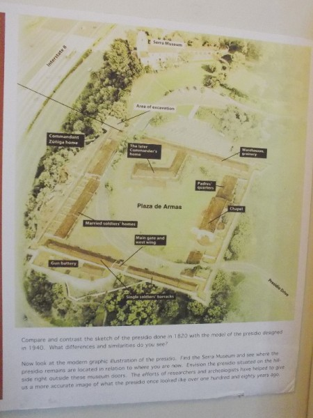 Modern graphic illustration of the fortified presidio, which was located a short distance below the Serra Museum's front entrance.