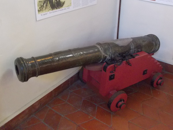 Old Spanish cannon named El Jupiter, cast in Manila in the 18th century. El Jupiter stood in Fort Guijarros at Ballast Point, the first defensive fortifications for San Diego Bay