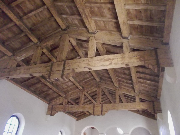 Large wooden beams in a truly amazing ceiling.