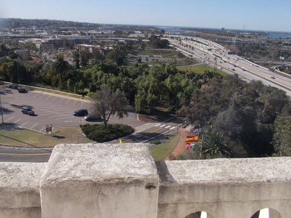 Looking west from the Serra Museum tower along Interstate 8. Point Loma is on the left and Mission Bay is to the right.