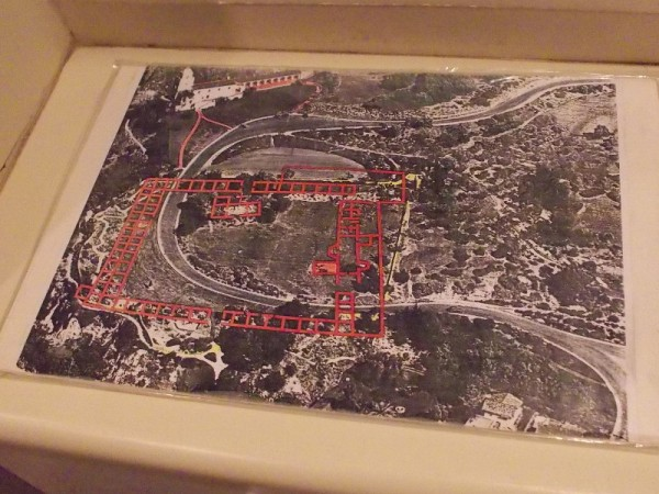 Map of the old Presidio's archaeological site. You can see where the fort was located in relation to the Serra Museum.