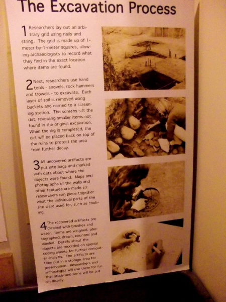 Explanation of the excavation process utilized by researchers. Some artifacts that were unearthed are on display in the museum.