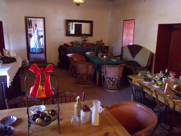 The dining area of the Commercial Restaurant. This is was what it was like to eat in style in the mid 1800s. Many exhibits along the walls recall the history of old San Diego.