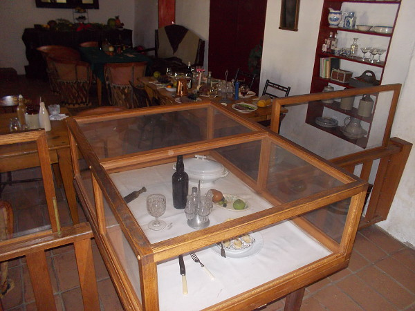 Display case contains artifacts used in the daily life of San Diego residents almost two centuries ago.