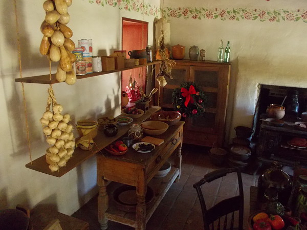 A peek into the recreated kitchen next to the dining room. Cooking was rather primitive in early San Diego.