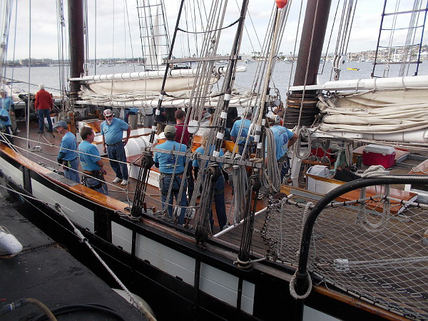 Visitors to the Maritime Museum of San Diego have boarded the tall ship Californian, to engage in a mock cannon battle with visiting tall ship Lady Washington.