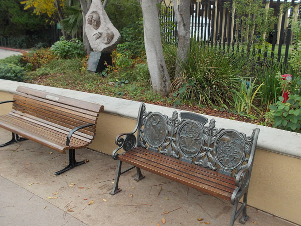 The first bench is dedicated to that magical playwright Shakespeare! As you might recall, the Bard is associated with the Globe Theatre, which was in London.