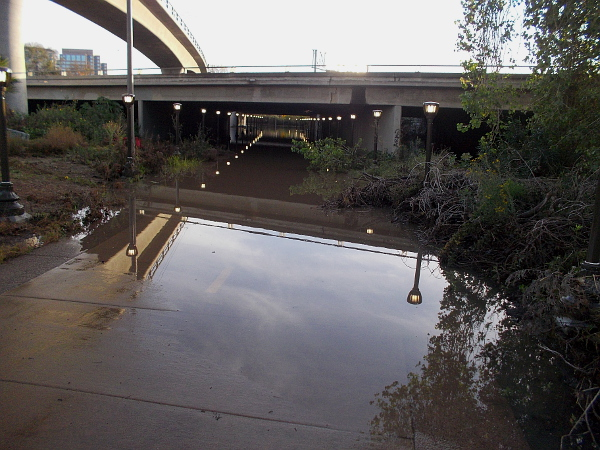 The bike and pedestrian pathway beneath Highway 163 flooded and was impassable. The nearby river was swollen with the recent rain.