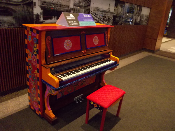 A colorfully painted piano in the lobby of Symphony Towers in downtown San Diego. I swung by here in the very early morning and few people were around.