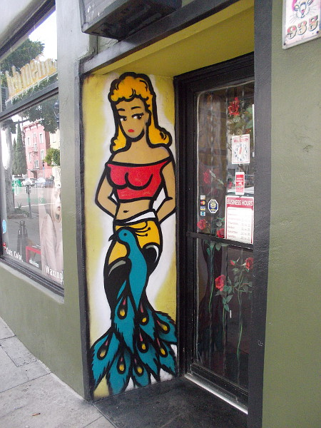 Colorful art by a downtown San Diego doorway.