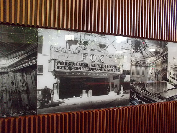 A vintage photo in the lobby shows the Fox Theatre, built in 1929, now Copley Symphony Hall. A modern skyscraper called Symphony Towers was built over and around the old theatre in 1989.