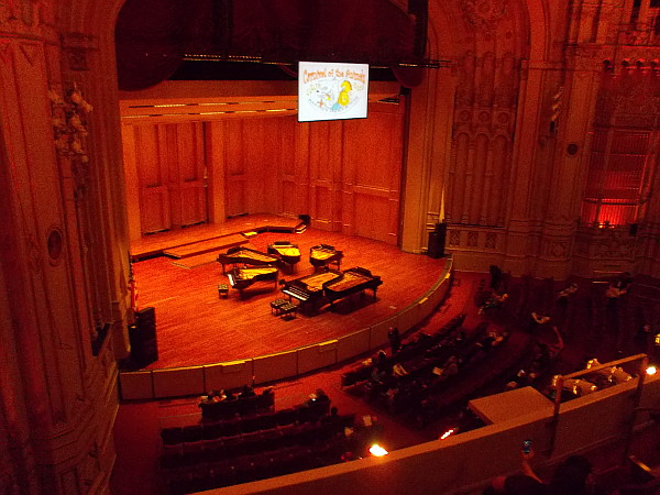 Six grand pianos were set up on the stage. I enjoyed the first hour of the event, which featured The Carnival of the Animals by composer Camille Saint-Saens, with poems by Ogen Nash.