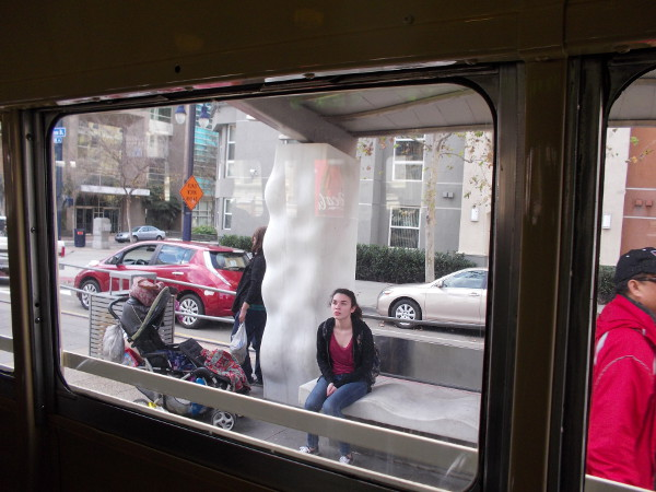 Looking out the trolley window at the Park and Market station.