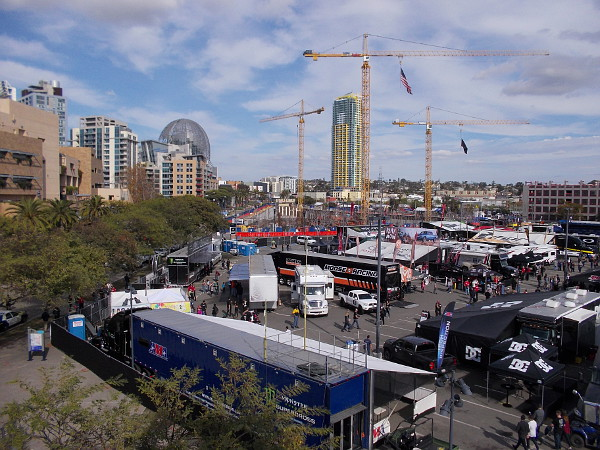 Supercross Party in the Pits is taking place in a parking lot adjacent to Petco Park.