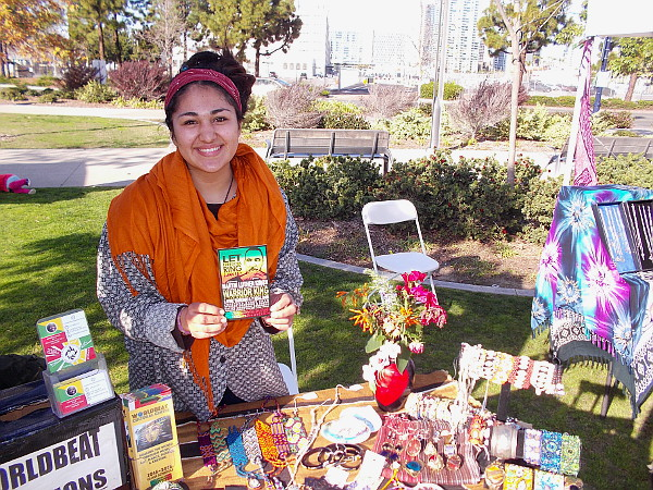 This smiling lady representing the WorldBeat Cultural Center in Balboa Park had a table full of beautiful crafts. They'll be having a Let Freedom Ring event on MLK Day.