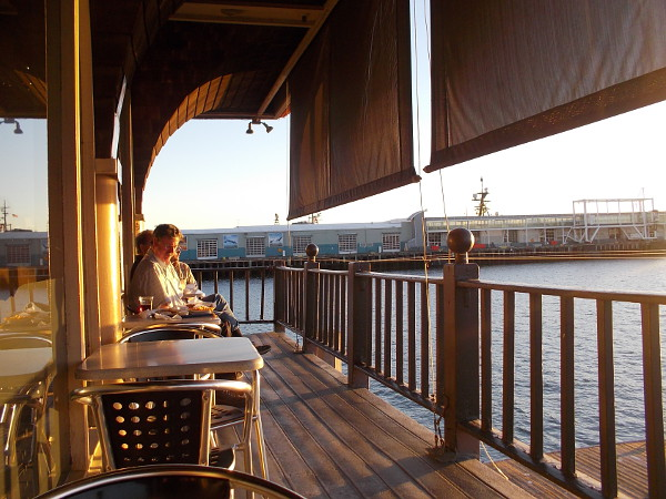 Possibly the best outdoor seating in all of San Diego. Just above the lapping water, with a sweeping, wonderful view.