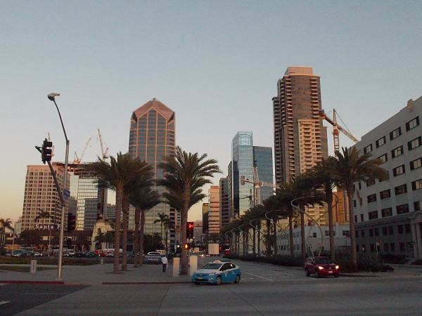 Walking east on Broadway from the Embarcadero just moments after sunset.