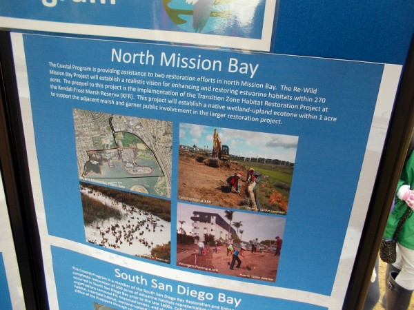 Information at U.S. Fish and Wildlife Service Coastal Program display shows the marsh boundaries and restoration efforts.