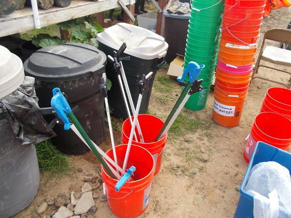 Tools that are used to remove trash from the environmentally sensitive marshland.
