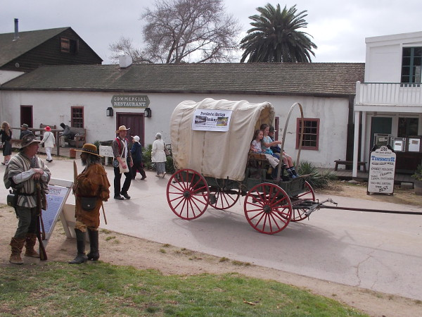 I saw kids in covered wagons, folks on horseback, and just a big whirl of activity all around Old Town today!