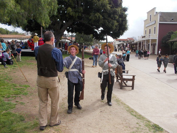 Lots of folks were about Old Town San Diego State Historic Park in period costume. Many people participating in the event were themselves Mormons.
