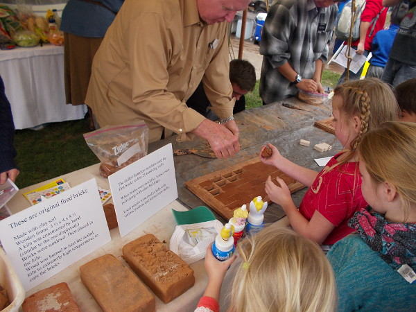 Young people were shown how clay bricks were made in the early days of San Diego.