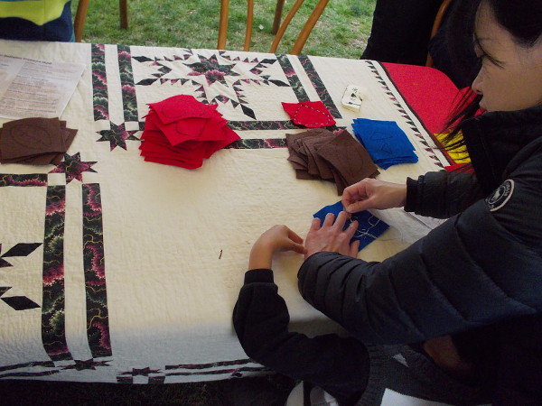 One booth in Old Town's central plaza had a quilt-making demonstration, where kids could learn about the craft.