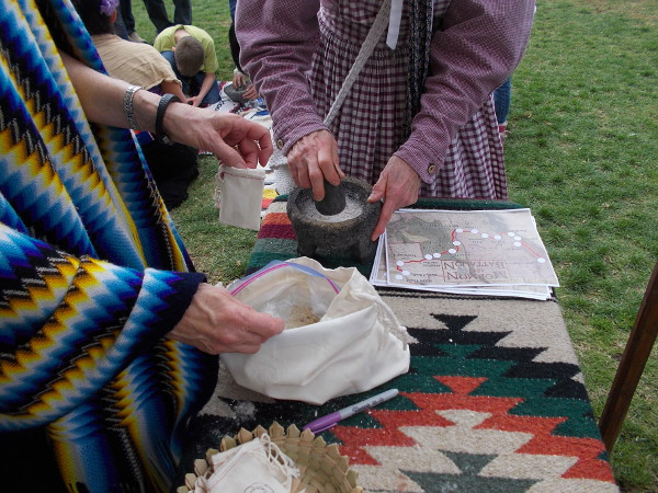Another demonstration had folks grinding nuts and seeds, a skill adapted from Native American Kumeyaay who lived in this region long before Europeans.
