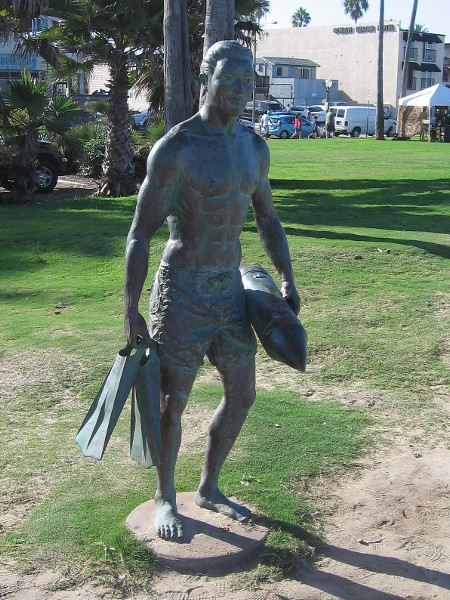 Colorado artist Richard Arnold created this bronze sculpture. It memorializes 13 tragic drownings in 1918, and the subsequent creation of San Diego's lifeguard service.