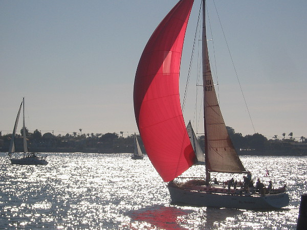 Magic before your eyes. A wind-stretched red sail on sparkling San Diego Bay.