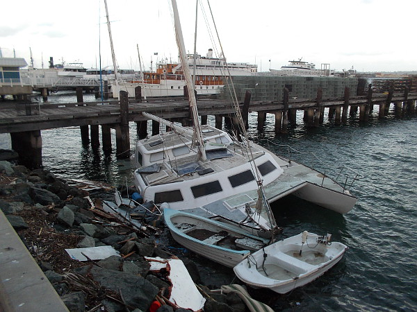Catamaran driven into the rocks near the Grape Street pier during an El Nino storm in downtown San Diego.