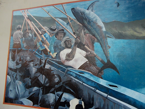 Mural titled I Pescatori by artist Renee Garcia, 2003. Depicts tuna fishermen who lived in Little Italy (many were Italian immigrants) fishing off the coast of San Diego.