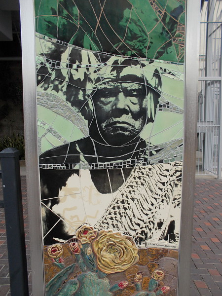 Public art in San Diego depicts Cinon Duro Mataweer, spiritual leader (kuseyaay or tribal shaman) of the Ipai (formerly northern Diegueño) Native American Indian tribe.