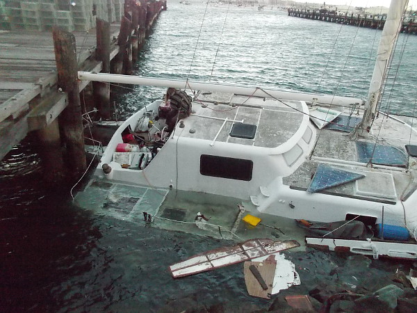 Resident of catamaran driven aground on deck of half-submerged boat. I wish her well in this difficult situation.