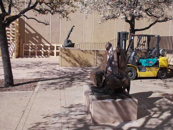 Two very fine sculptures that will soon will be approachable in Balboa Park's Plaza de Panama.