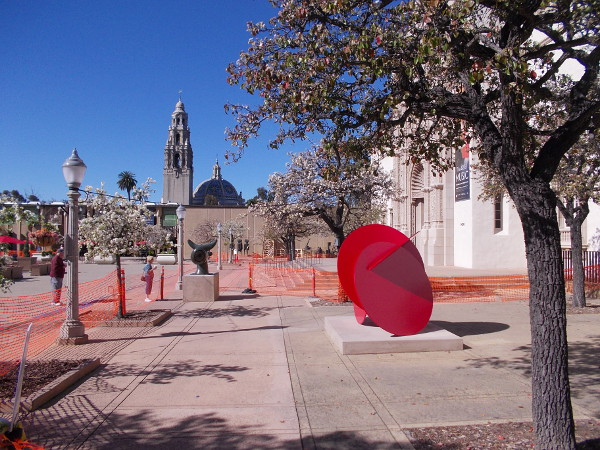 Photo across front of the San Diego Museum of Art, the north end of Balboa Park's Plaza de Panama. Outdoor art is being installed.