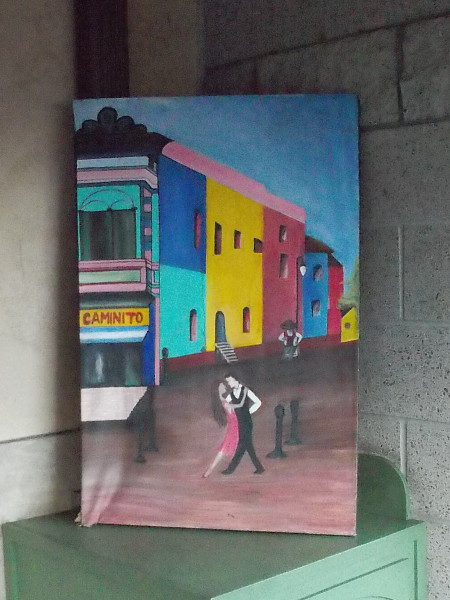 This painting of two dancers was in the front patio of a shop or cafe or restaurant of some kind--I forget what, exactly. I had to snap a quick pic.