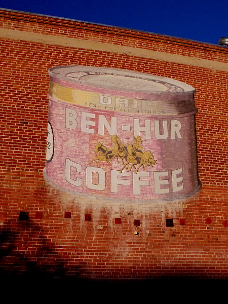 Ben-Hur Coffee. A cool old advertisement on the side of an old brick building in San Diego's hip Little Italy neighborhood.