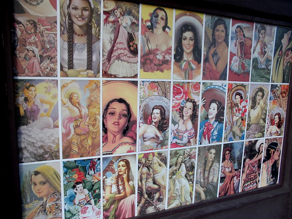 Many faces of beauty on exterior wall of El Camino.