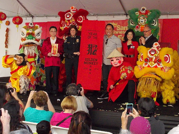 The opening ceremony included an elaborate lion dance, then the display of this banner by San Diego dignitaries.