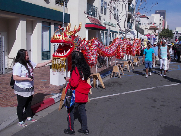 A long Chinese dragon on display. I believe a dragon dance would take place later. One of many cool sights at the annual San Diego festival!